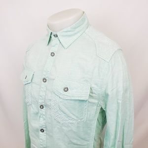Buckle Black Mens Button Front Shirt Sz Small